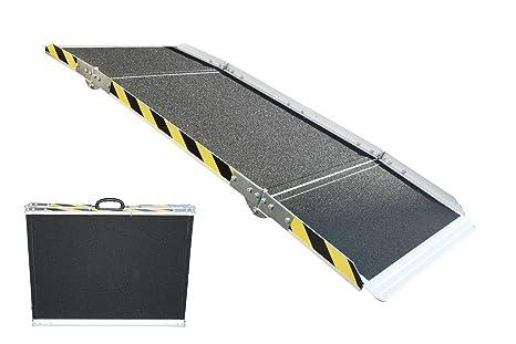 Rampa de aluminio, para silla de ruedas, plegable en 3 niveles, 240 cm