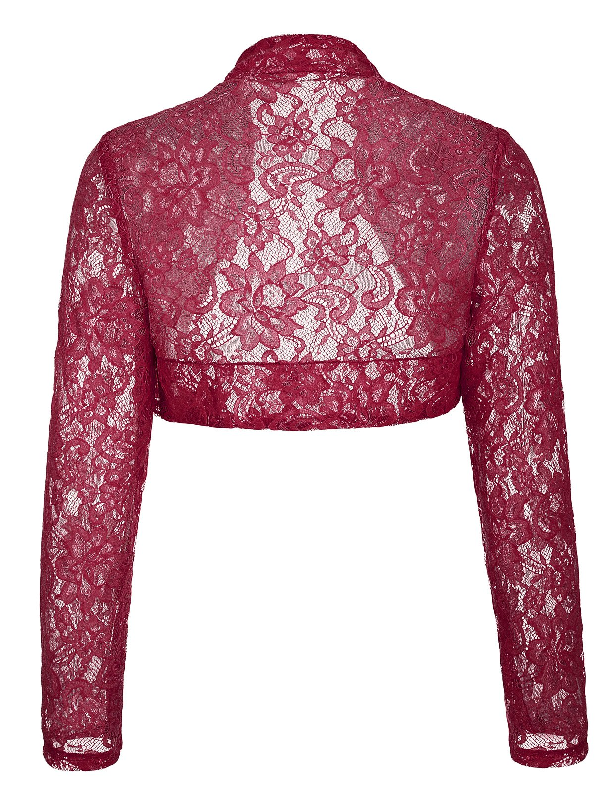 JS Fashion Vintage Dress Woman Long Sleeve Shrug Cardigan Crochet Lace Tops (L,Wine BP49) by JS Fashion Vintage Dress (Image #2)