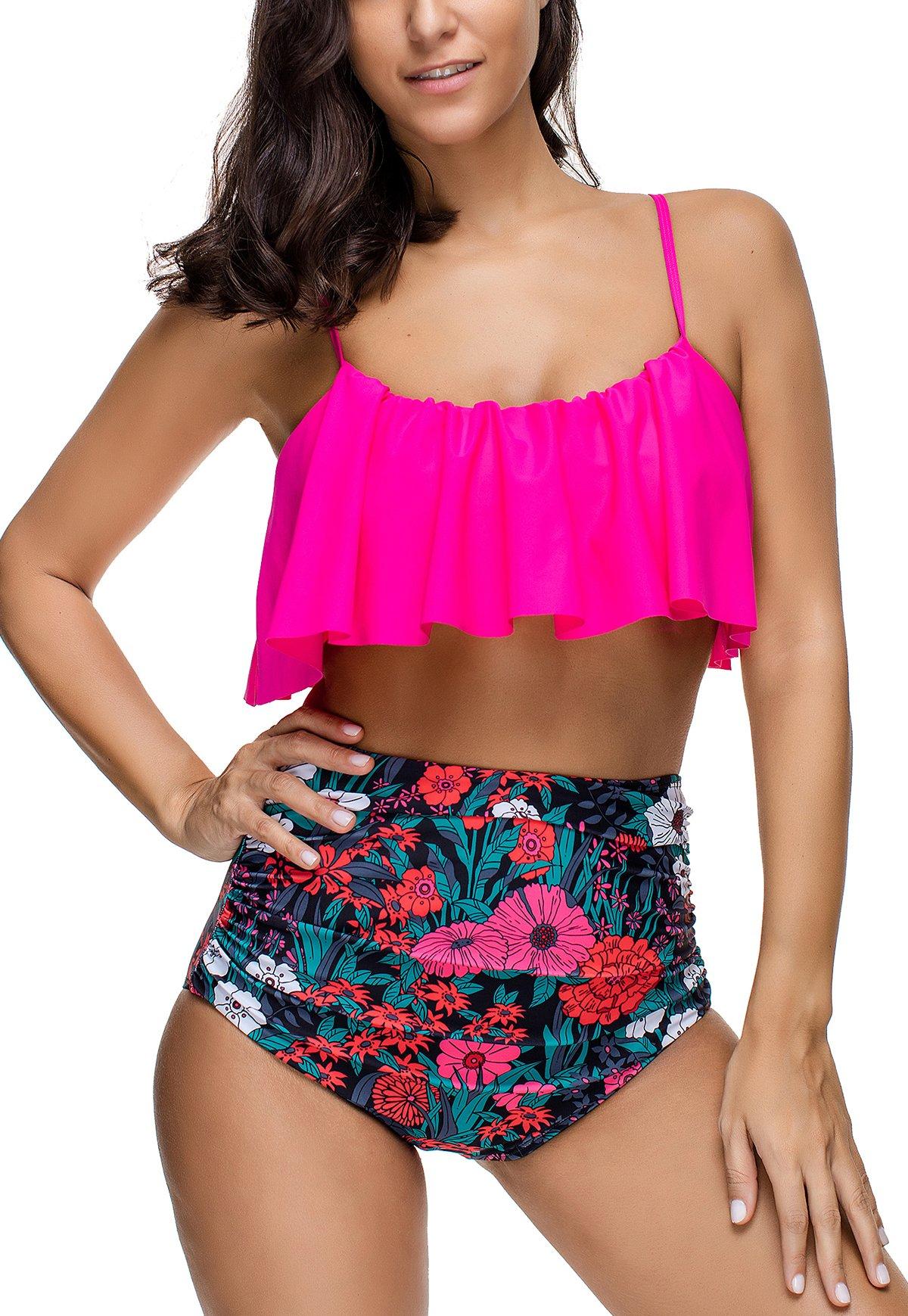 74942b6fa4a Womens Swimsuits Bikini Set High Waisted Ruffled Padded Bathing Suits  Vintage Split Swimwear, Rose Red, Medium
