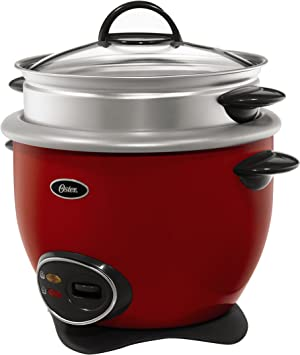 Oster CKSTRCMS14-R 7-Cup uncooked resulting in 14-Cup cooked Rice Cooker with Steam Tray, Red