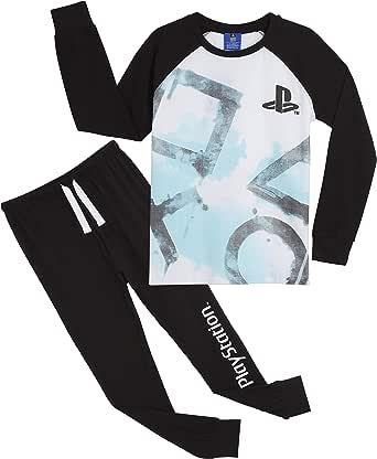 PlayStation Pijama Niño, Pijamas Niños con Pantalon Negro y ...