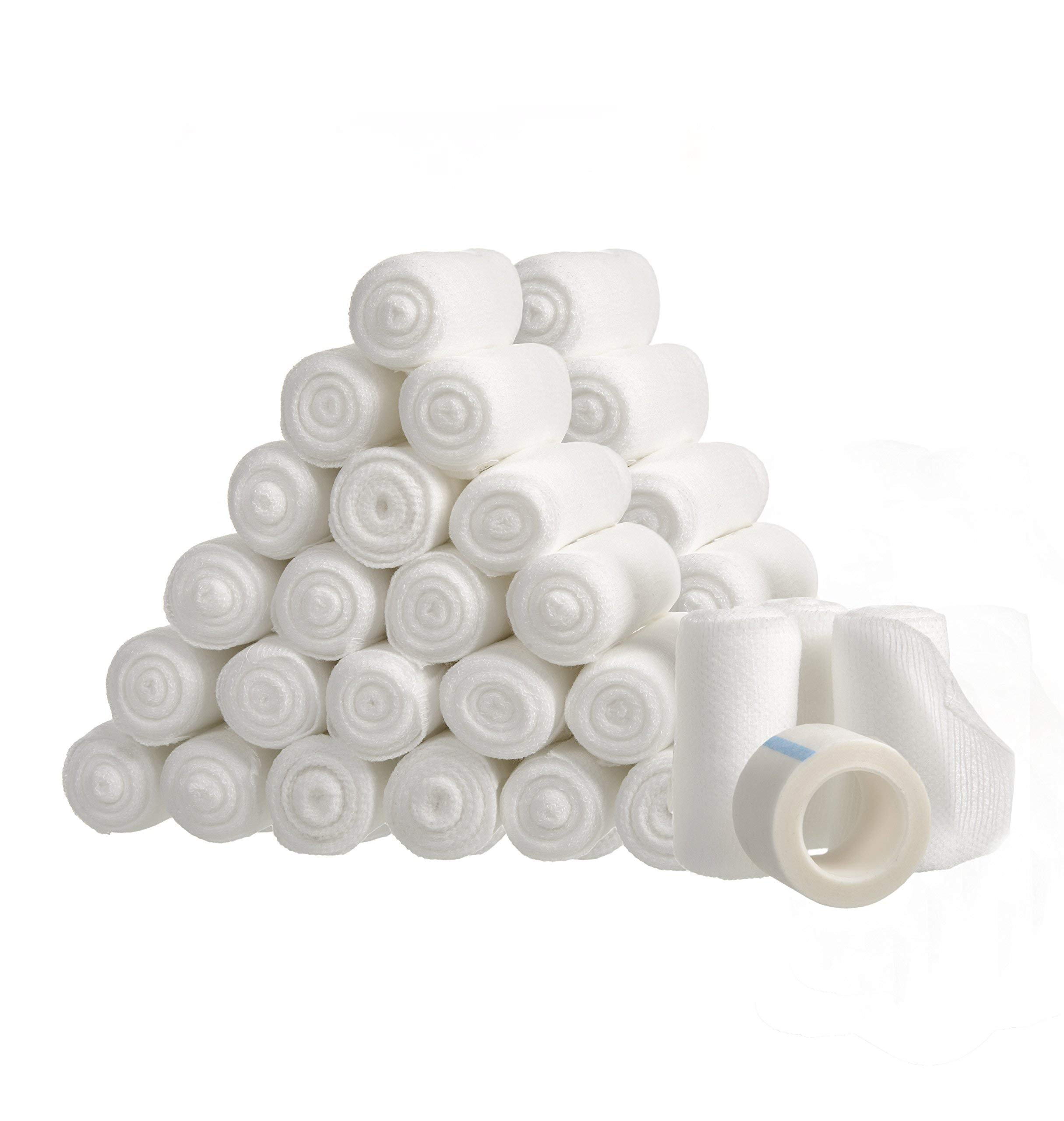 48 Gauze Bandage Rolls with Medical Tape, 2'' x 4 Yards Stretched, Stretch Bandage Roll, FDA Approved, Medical Grade Sterile First Aid Wound Care, Dressing, by California Basics
