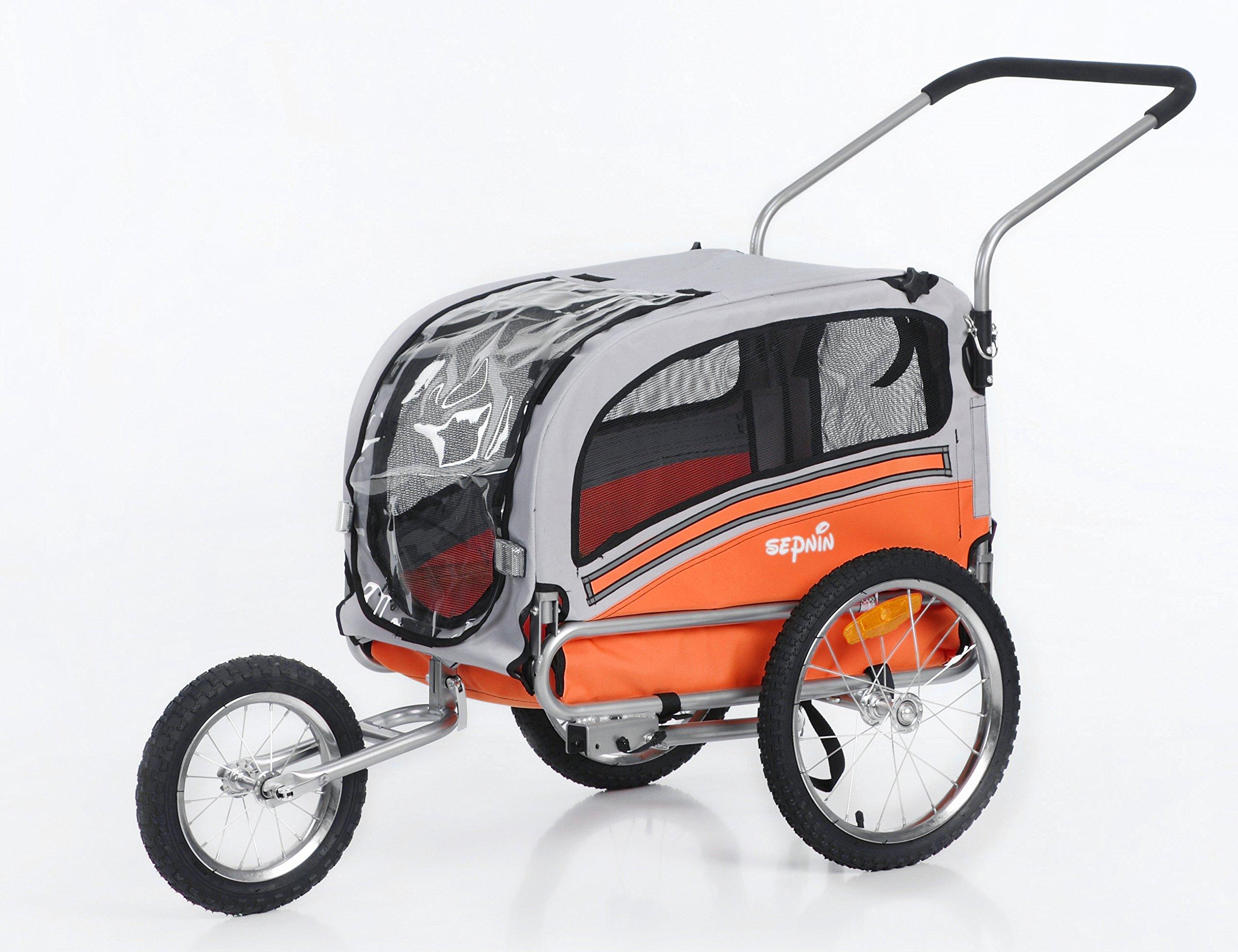 Sepnine 2 in1 pet dog bike trailer bicycle trailer and stroller jogger 20303 (Orange/Grey)