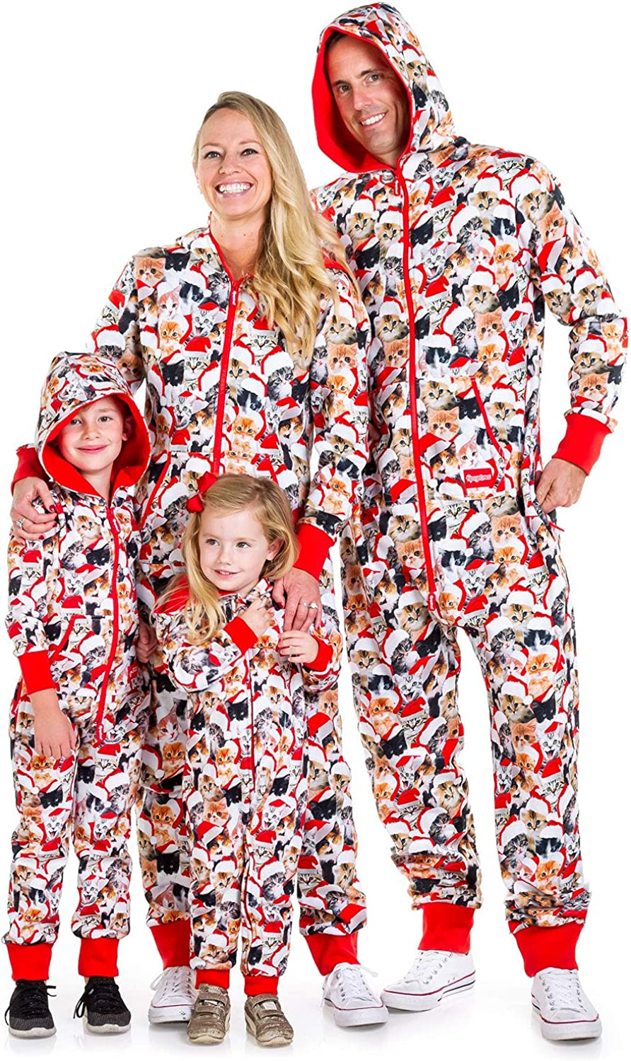 Funny Xmas PJs for Christmas Morning Matching Family Cat Christmas Jumpsuits