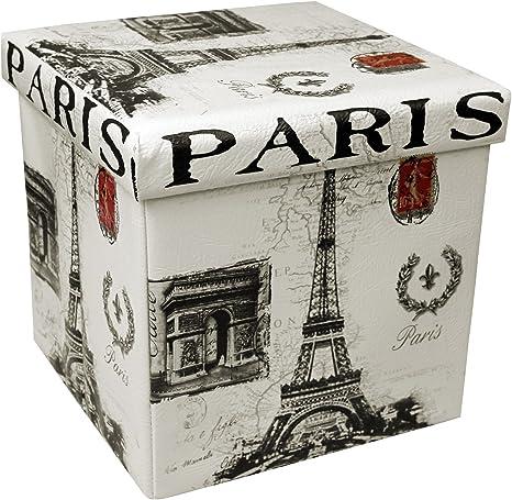 MultiStore Plegable Puff 38 x 38 x 38 cm IP5 Taburete Taburete Puf Asiento Caja Diseño Paris: Amazon.es: Hogar