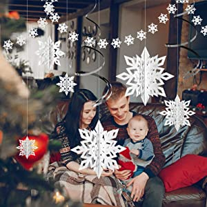 Winter Christmas Hanging Snowflake Decorations,12PCS 3D Glittery Large White Snowflake,2PCS 157in Small Snowflake, 3PCS Ribbon for Christmas Winter Wonderland Holiday New Year Party Home Decorations
