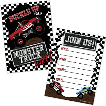amazon com monster truck birthday party invitations for boys 20