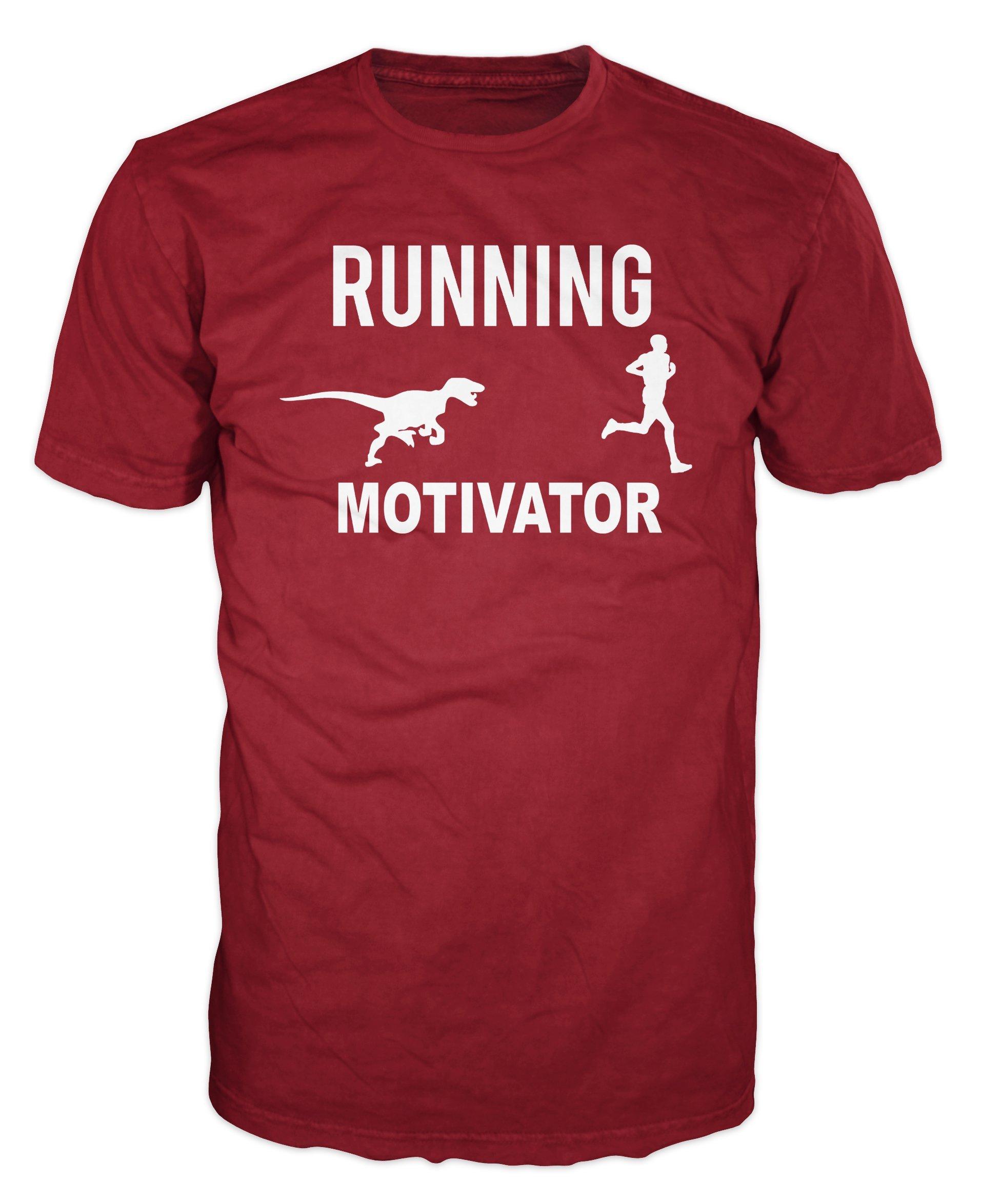 Dalesbury Running Motivation Raptor And Runner Funny Tshirt Brick Red