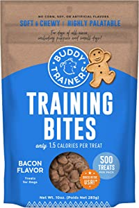 Buddy Biscuits Training Bites for Dogs, Low Calorie Dog Treats Baked in The USA, Bacon 10 oz.