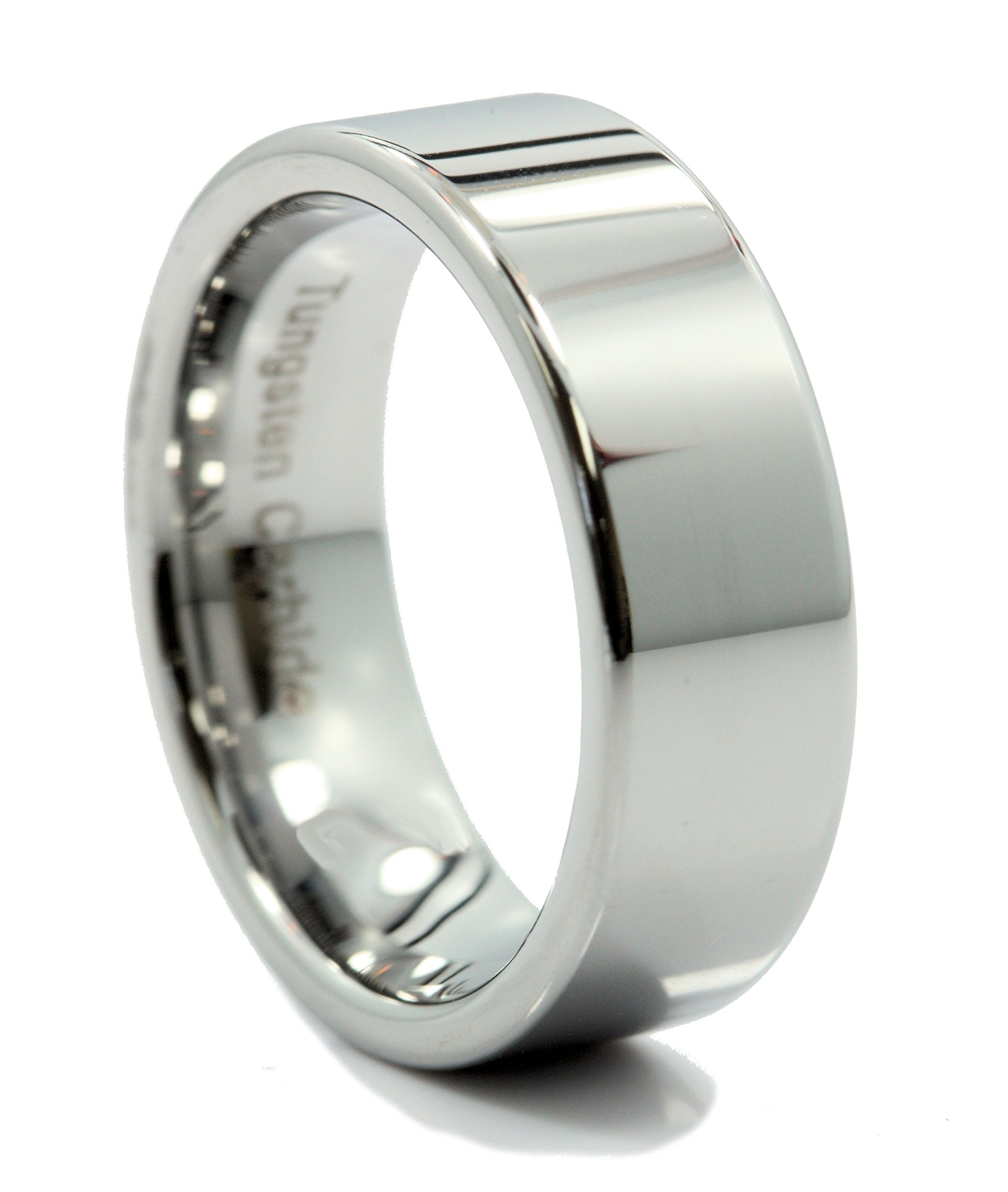 MJ Metals Jewelry 8mm Flat Pipe Cut Tungsten Carbide Wedding Band Mirror Polished Ring Size 11