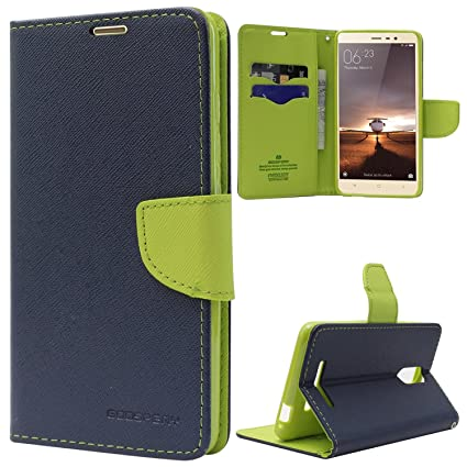 ONLINE INDIA Mi Redmi 4A FLIP Cover Imported Mercury Goospery Fancy Diary Wallet flip case Back Cover  Blue  Cases   Covers