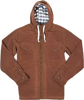 Buffalo Jackson Marshall Hooded Jacket for Men | Waxed Cotton Canvas Exterior with Flannel Lining (Dark Khaki, Medium)