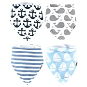 Stadela Baby Adjustable Bandana Drool Bibs for Drooling and Teething Nursery Burp Cloths 4 Pack Baby Shower Gift Set for Boys - Nautical for Sailor with Whales Anchors Stripes Boats Yachts