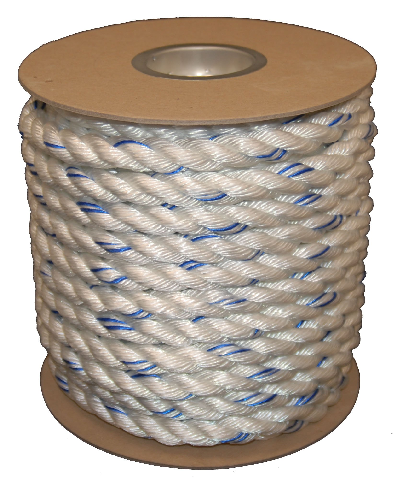 T.W Evans Cordage 1256-100 Buffalo Blend 3/4 inch x 100' Polydac Poly Dacron Combo Rope, 3/4 inch x 600', White