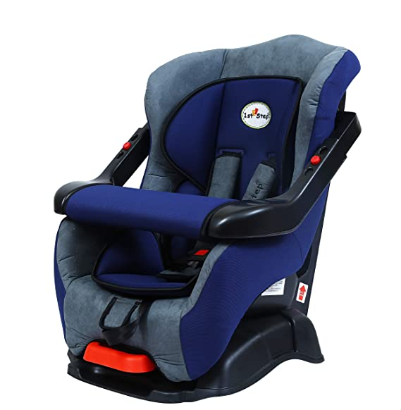 1st Step Safe Reclining Car Seat with 5 Point Safety Harness, Padded Wings - Side Impact Protector and Adjustable Handlebar/Sturdy Base/Washable Seat/ 24 to 60 Months/ 10 to 18 kg-Blue