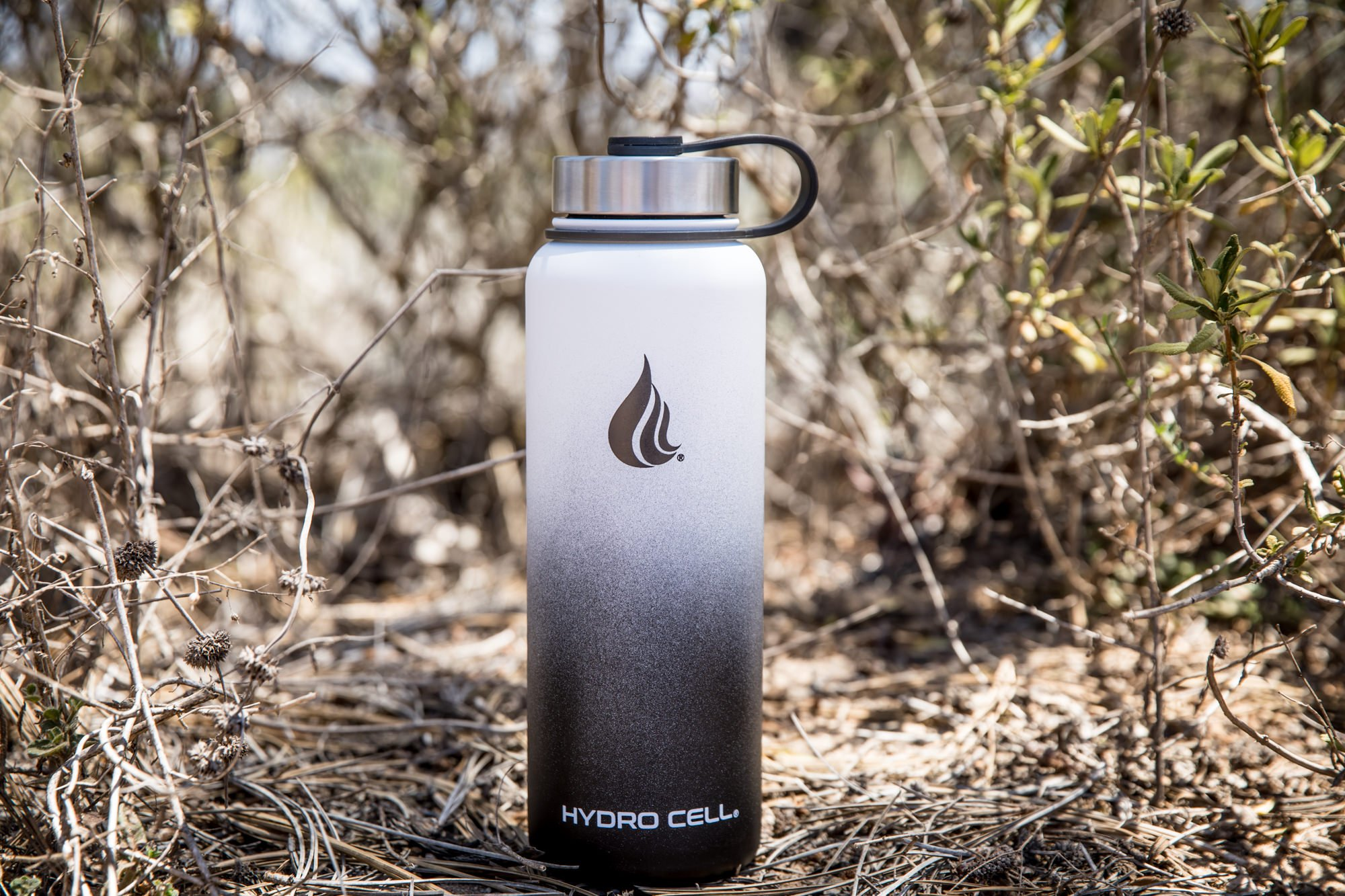 HYDRO CELL Stainless Steel Water Bottle with Straw & Wide Mouth Lids (32oz or 22oz) - Keeps Liquids Perfectly Hot or Cold with Double Wall Vacuum Insulated Sweat Proof Sport Design (Black/White 40oz)