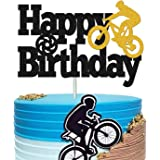 Bicycle Cake Topper Happy Birthday Bike Cake Decorations for Kids Boy Girl Sport Themed Bday Party Supplies Black…