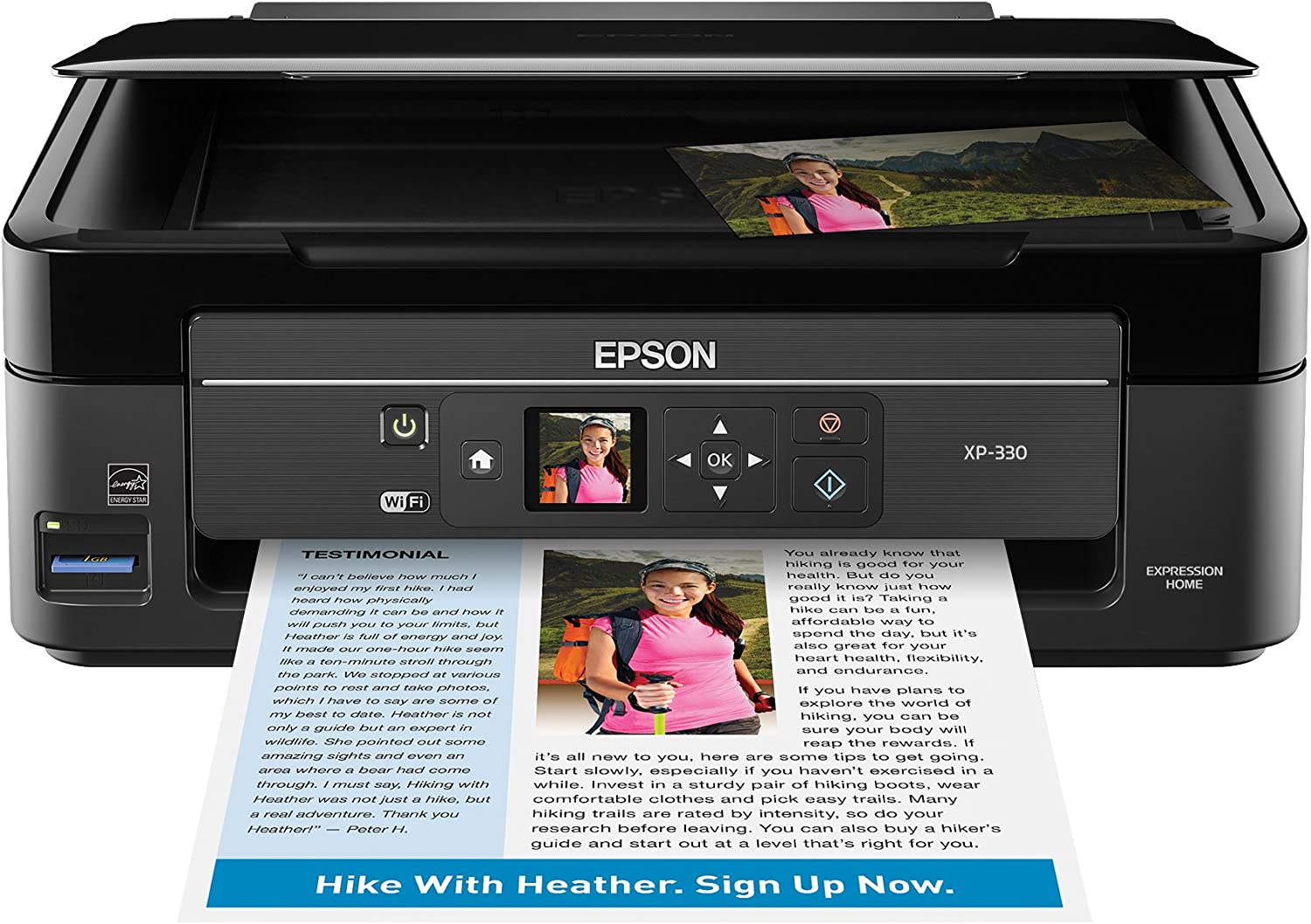Epson Expression Home Xp-330 Wireless Color Photo Printer with Scanner and Copier, Amazon Dash Replenishment Enabled