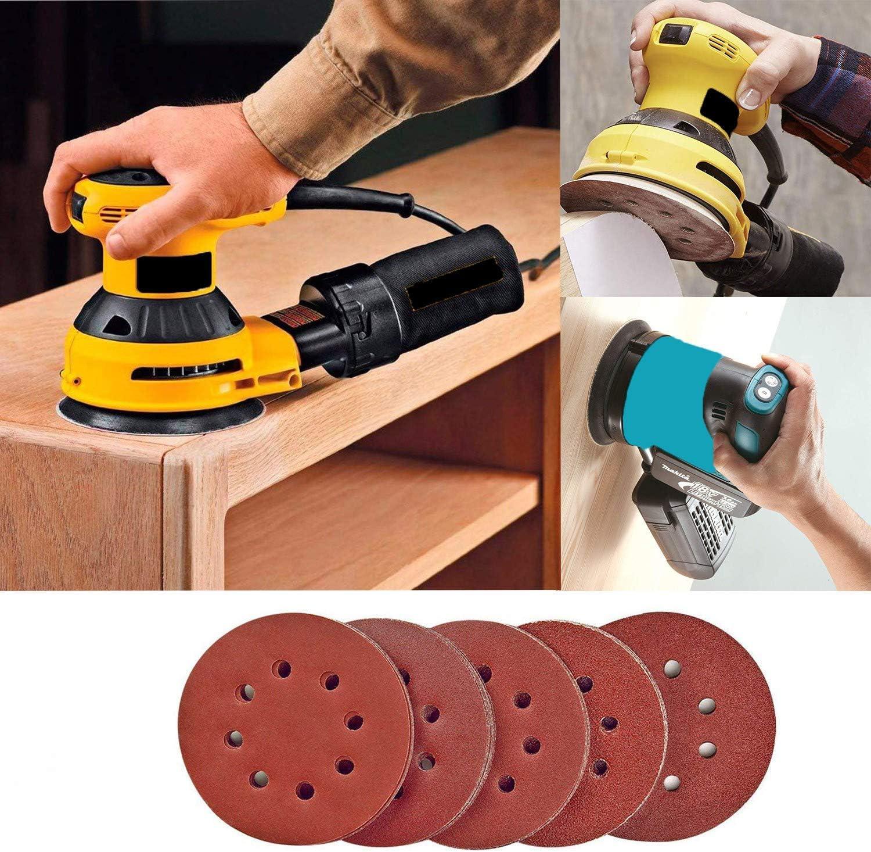 Max-Cool Hook and Loop 40 60 80 120 150 180 240 320 400 800 Mixed Grits 125mm Sandpaper Sheet for Random Orbital Sander 8-Holes 60Pcs Sanding Discs Pads
