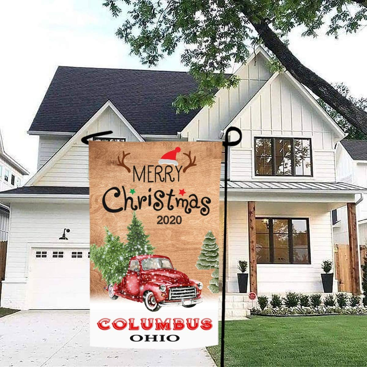 Merry Christmas Garden Flag Red Truck 2020 Columbus Ohio State - Rustic Winter Garden Yard Decorations, Outdoor Flag 12x18 Inch Double-Sided for Home, Garden (Not Included Stand)