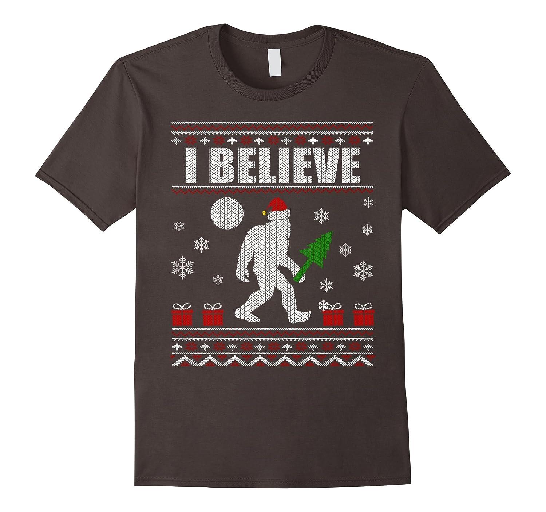 af22fb7b7b I Believe Bigfoot Santa Christmas Knit Style T-Shirt-ANZ ⋆ Anztshirt