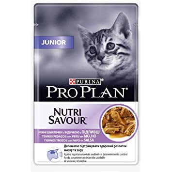 Purina ProPlan en Salsa Comida para gato Junior, bebe, gatito con Pavo 24 x 85 g: Amazon.es: Productos para mascotas
