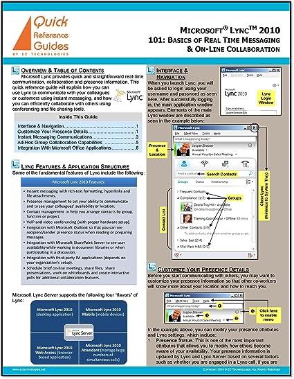amazon com microsoft lync 2010 quick reference guide 101 rh uedata amazon com microsoft lync 2013 quick reference guides Microsoft Office 2010 Reference Guide