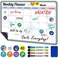 Monthly Magnetic Fridge Calendar Dry Erase 12x17 with 8 Event Magnets & 4 Markers - Magnetic Planner for Refrigerator…