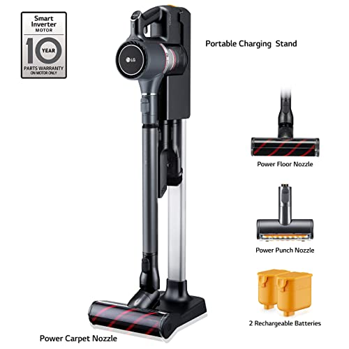 LG Cordzero A9 Ultimate, Cordless Stick Vacuum Cleaner with Two Batteries, for Hard-Floor, Carpet, Couch, Mattress, Car A907GMS , Matte Grey
