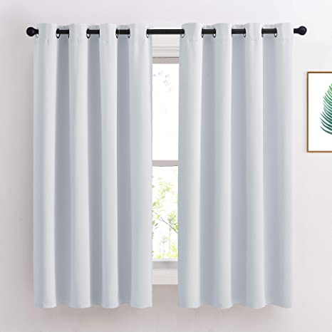 Amazon Com Nicetown Greyish White Room Darkening Curtain Panels Window Treatment Thermal Insulated Grommet Room Darkening Curtains Panels Drapes For Bedroom 2 Panels 52 By 63 Greyish White Kitchen Dining