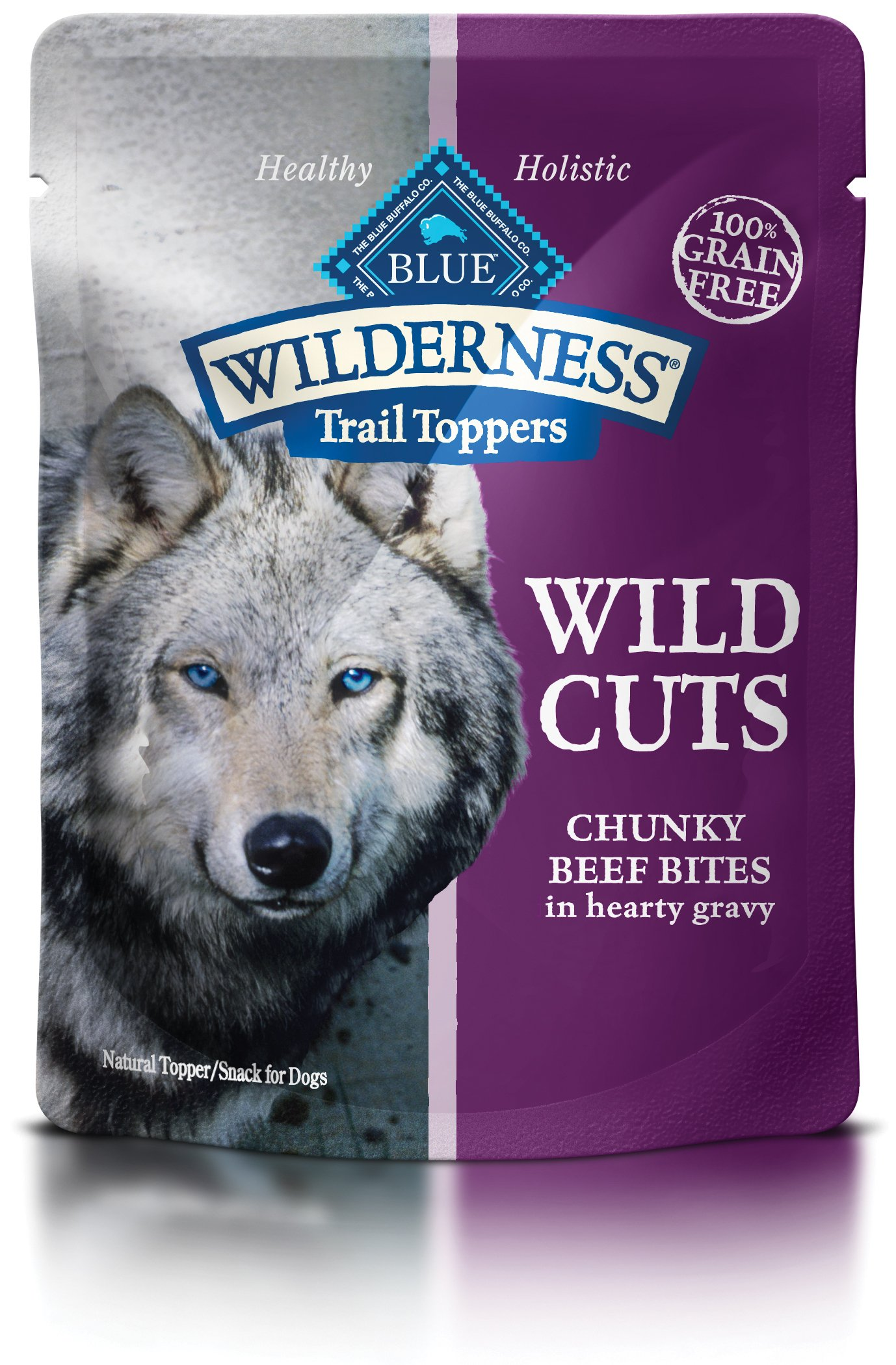 Blue Buffalo Wilderness Trail Toppers Wild Cuts High Protein Grain Free, Natural Wet Dog Food, Chunky Beef Bites In Hearty Gravy 3-Oz Pouch (Pack Of 24) by Blue Buffalo