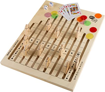 Amazon Com Hey Play Wooden Horse Race Strategy Board Game Toys Games