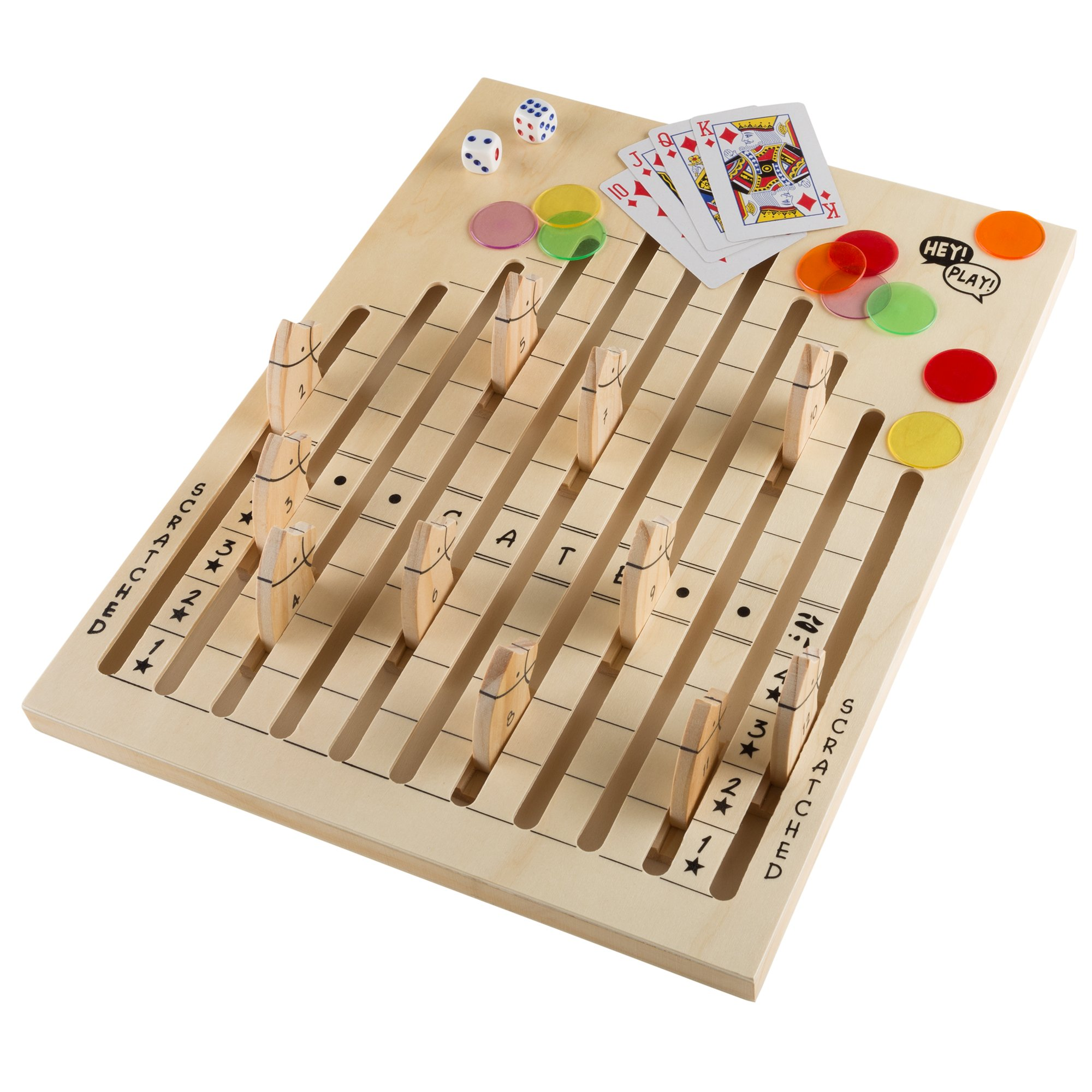Wooden Horse Race Game Set - Includes Dice, Cards and Chips!