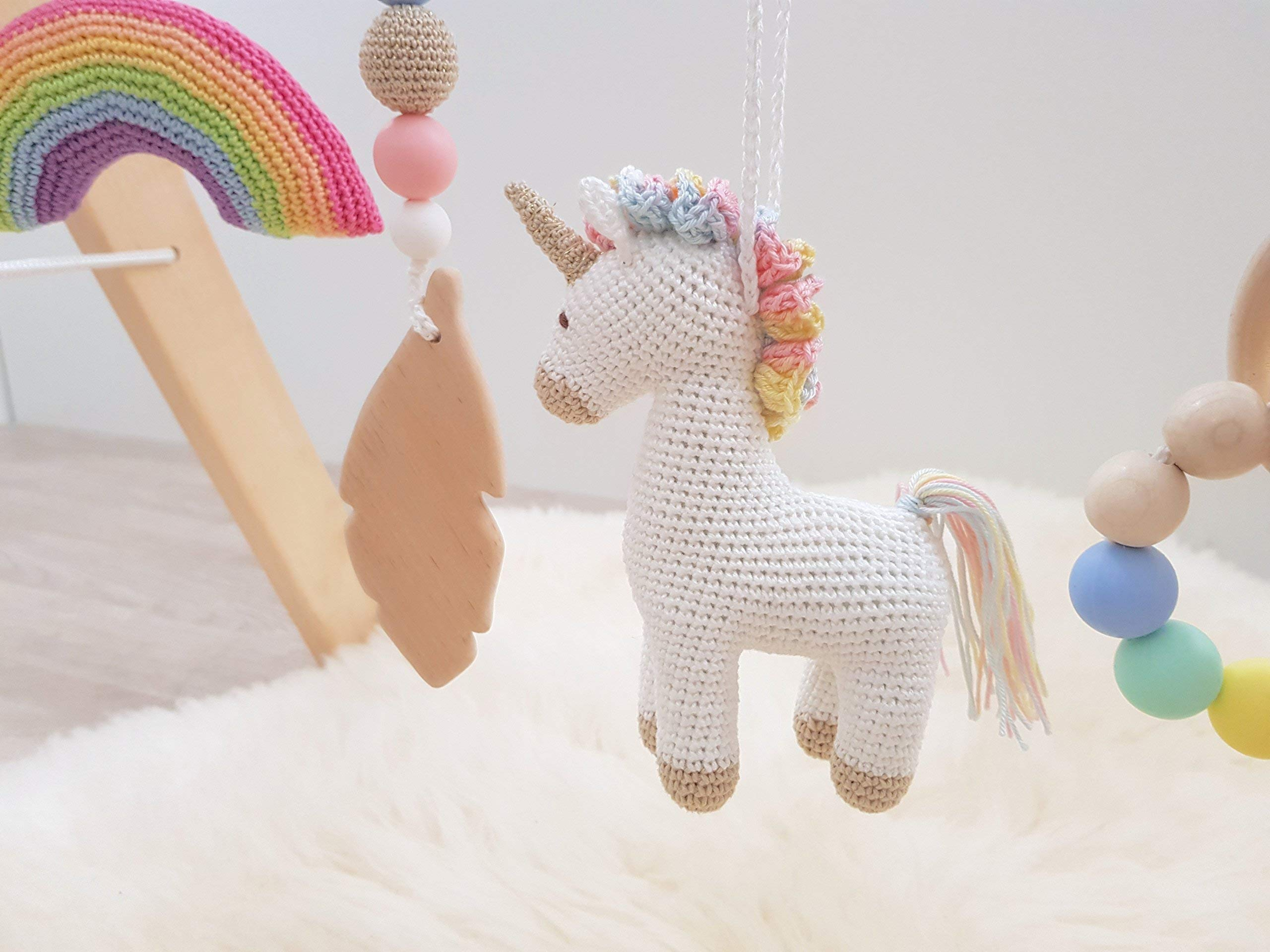 Rainbow Unicorn Baby Play Gym with 5 Mobiles: Unicorn, Rainbow, Mountain, Feather, Beaded Ring. Handmade by… 7