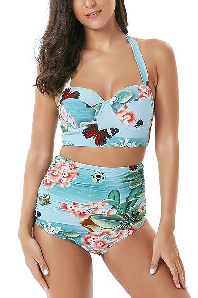 3e222131e52f6 Amazon.com: Seanami Dazzling Women Retro Vintage High Waisted Push Up Bikini  Set Two Pieces Swimsuit Bathing Suit: Clothing