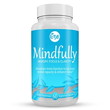 MINDFULLY Nootropic Brain Booster - Citicoline, Lions Mane, Bacopa Monnieri & Ginkgo Biloba Supplement