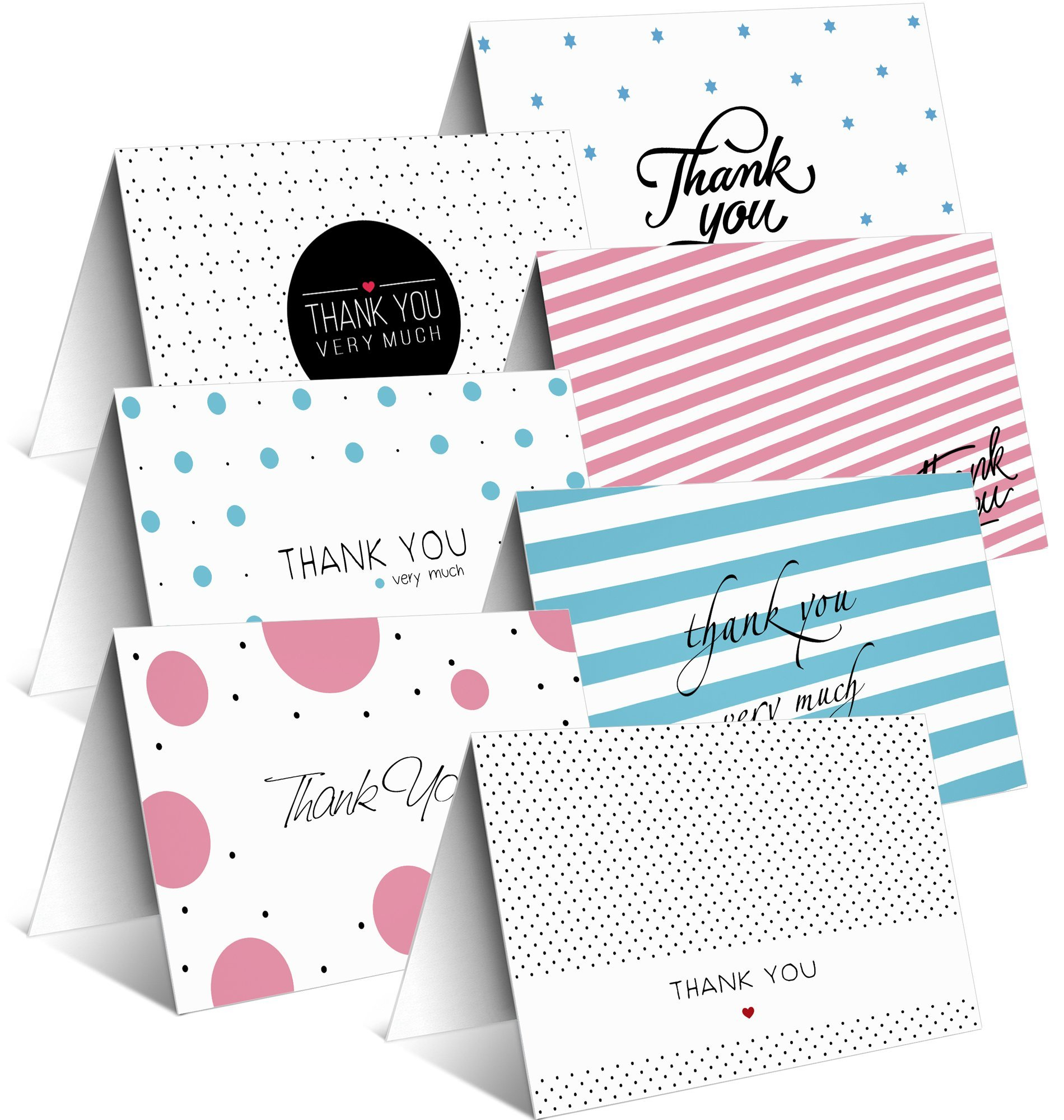42 Assorted Thank You Cards Bulk Box by Toplex - Perfect for Wedding, Baby Shower, Bridal, Anniversary, Engagement and Business - 7 Classic Designs - Blank Inside - White Envelopes Included