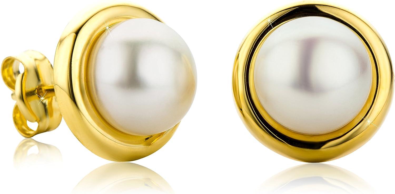Pendientes Orovi para mujer, con perlas y oro amarillo de 9 quilates (375)