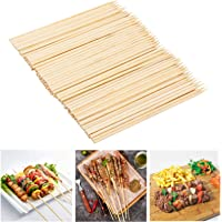 Pack of 6 BBQ Kebob Grill Zinc Coated Metal Skewers with Bamboo Wooden Handles