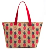 H&B Women's Tote Bag( Red,BCH-Pineapple-Red)