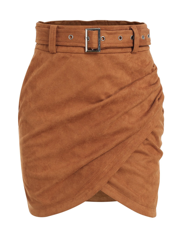 Missy Chilli Women's Autumn Wrap Suede Skirt High Waist Belt Bodycon Mini Skirt Brown 4/6