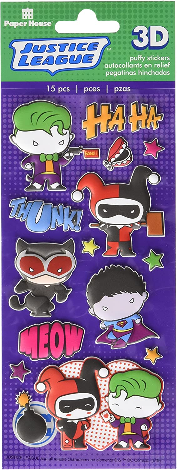 Justice League Chibi Heroes Paper House Productions STP-0076E Puffy Stickers 3-Pk 3 Piece