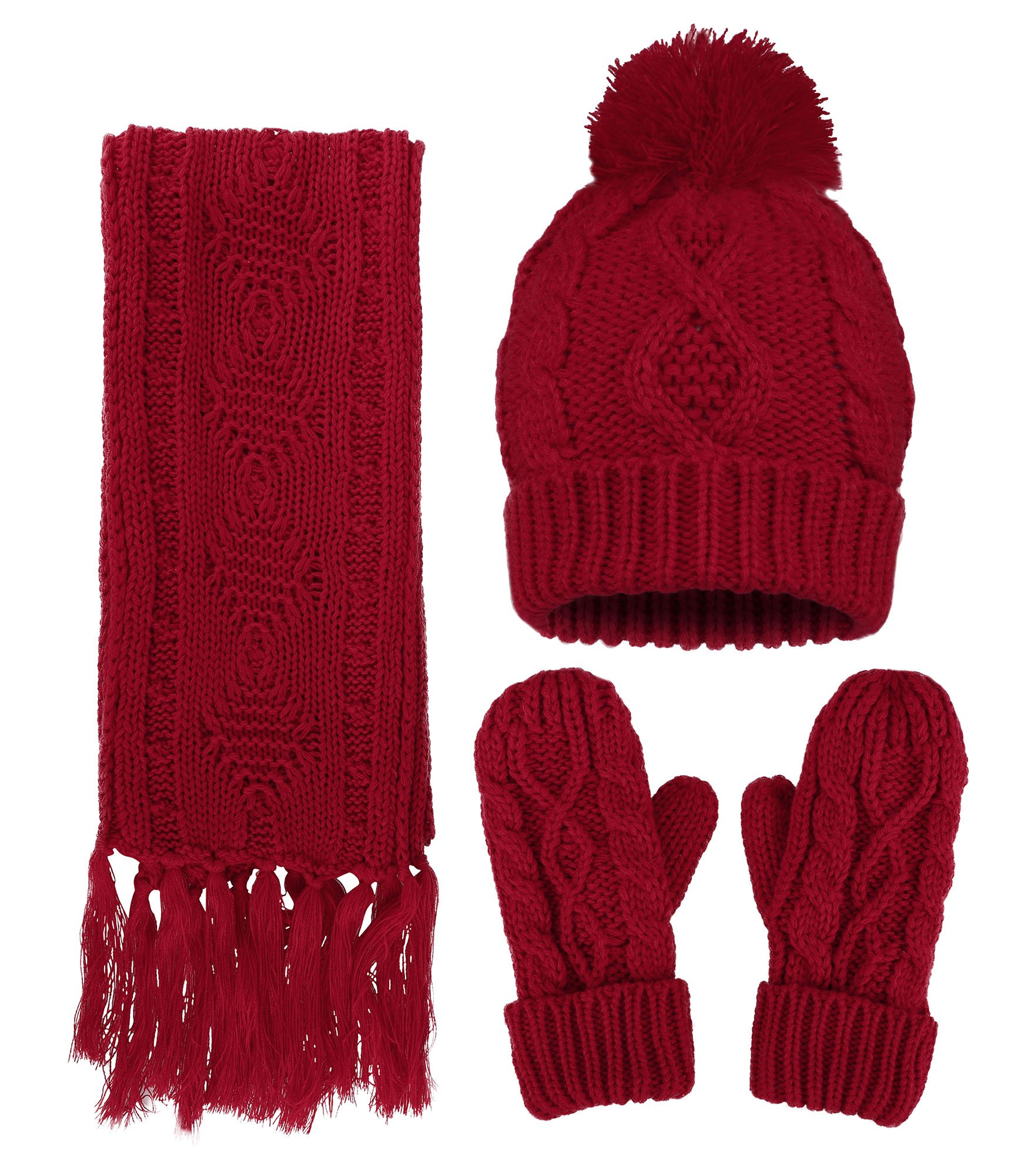 ANDORRA - 3 in 1 - Soft Warm Thick Cable Hat Scarf & Gloves Winter Set, Red
