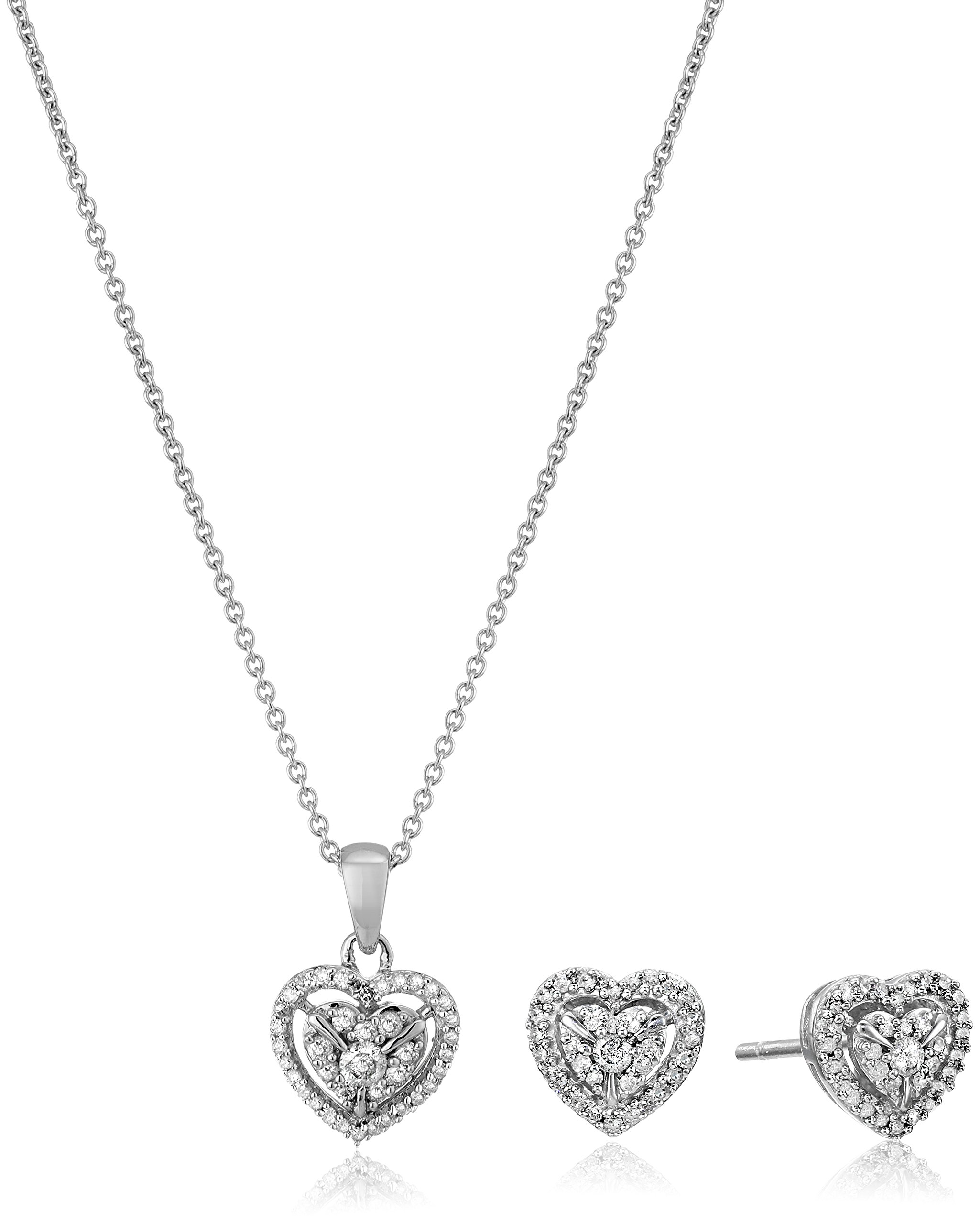 Sterling Silver Diamond Heart Pendant Necklace and Earrings Box Set (1/2 cttw), 18''