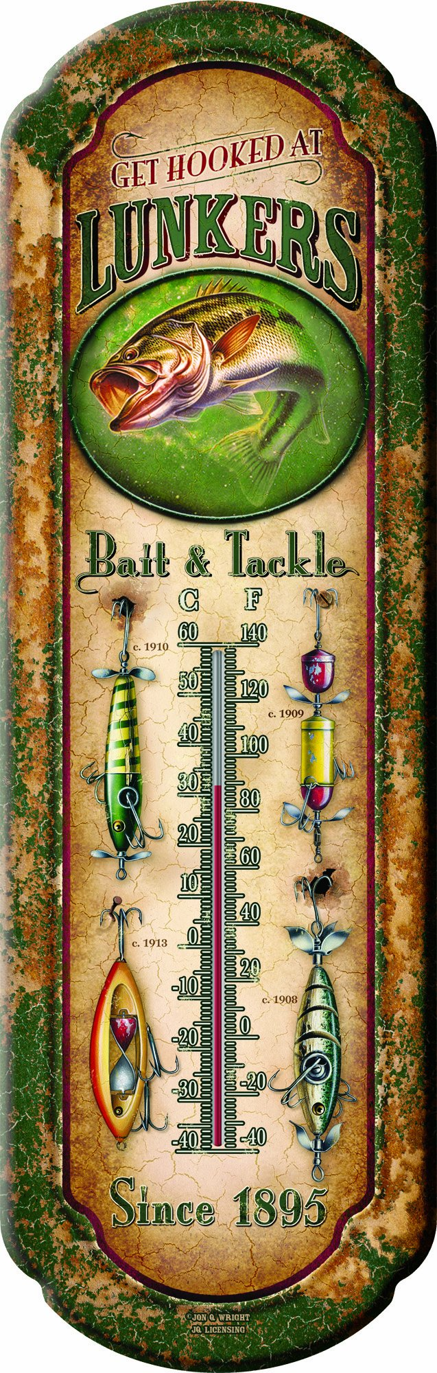 River's Edge 1291''Lunkers Bait and Tackle'' Nostalgic Tin Thermometer