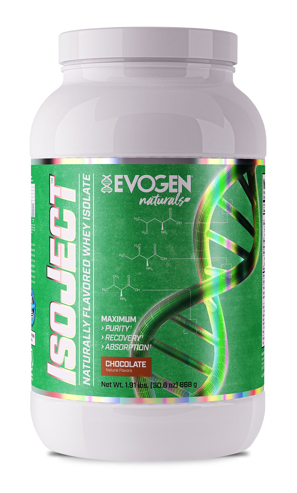 Evogen Naturals Isoject | Premium Whey Isolate w/Digestive Enzymes | 28 Servings | Chocolate
