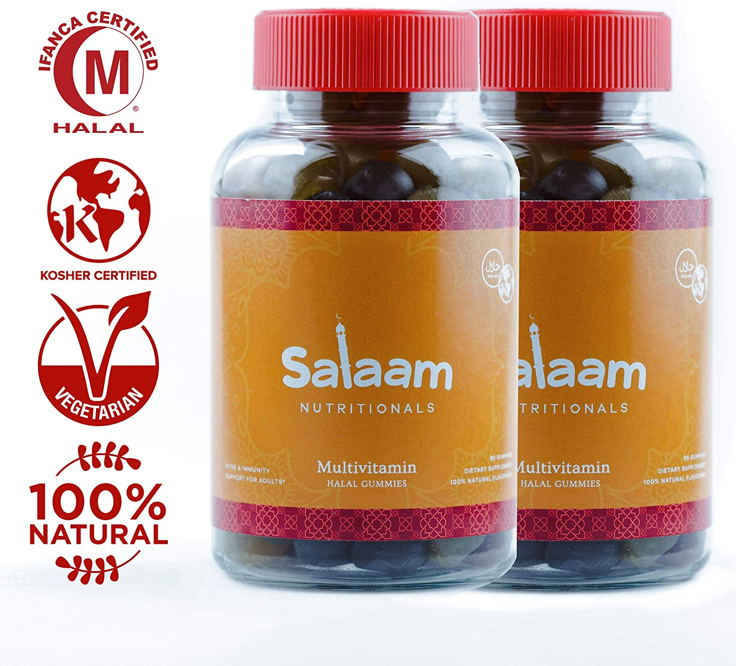 Salaam Nutritionals Halal Adult Gummy Multivitamins 11 Essential Vitamins and Minerals with Antioxidants Kosher, Vegetarian, Non-GMO, Gluten, Dairy, Nut Free 2 Pack, 180 Total Count
