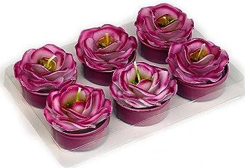 Deko Teelichter 6 Stück Blüte Blume Altrosa Amazonde Küche Haushalt