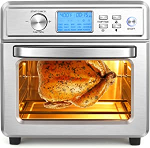 Nictemaw Air Fryer 16 in 1 Air Fryer Oven for Large Family 21QT/20L Convection Air Fryer Toaster Oven Combo with LED Display & Temperature/Time Dial, 1700W, Stainless Steel