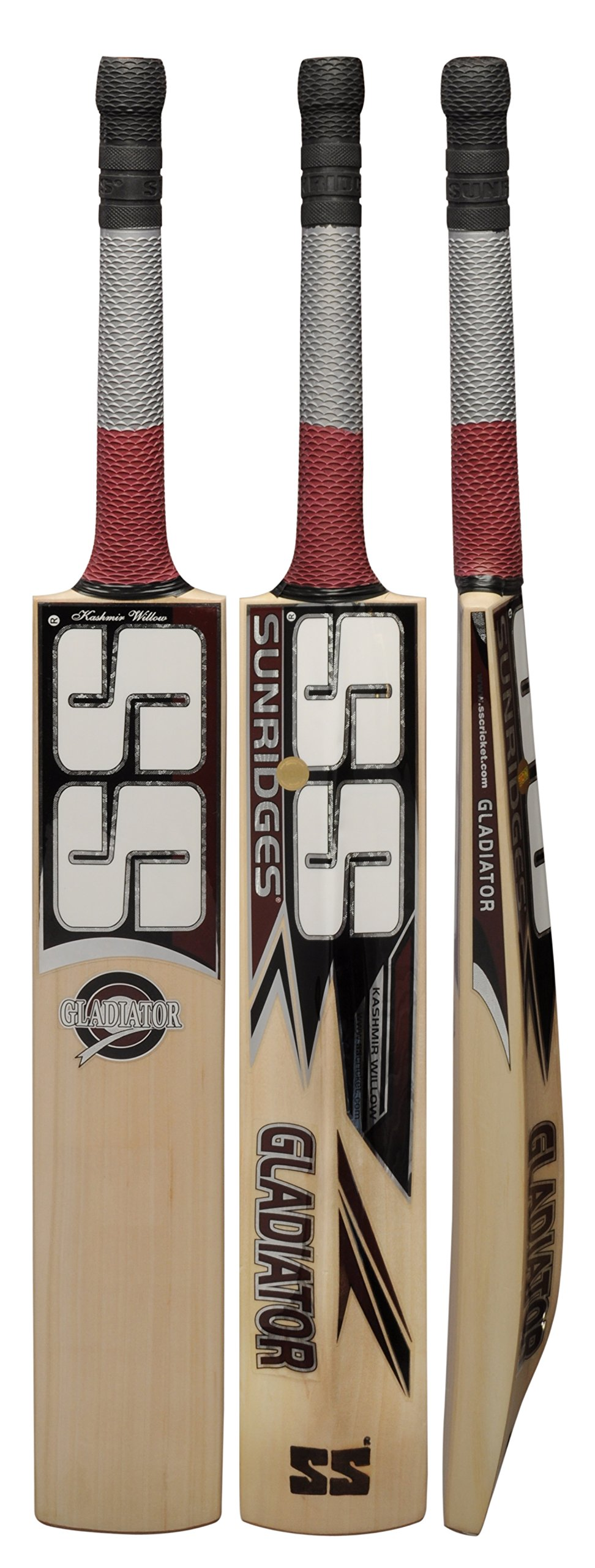 Cricket Bat SS Gladiator Kashmir Willow Full Adult Size Short Handle by Sunridges with free SS Sunridges Bat Cover - Bat suitable for playing with normal cork ball or heavy tennis ball